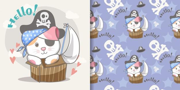 Cute little pirata gato sem costura padrão e ilustração cartão