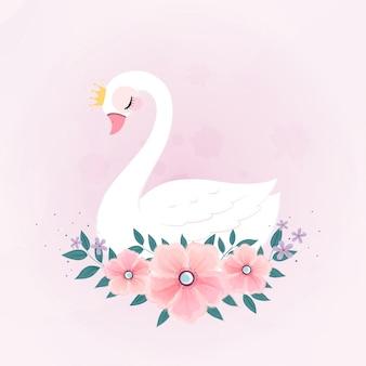Cute little princess swan com buquê de flores.