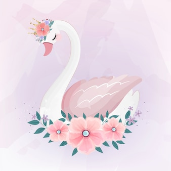 Cute little princess swan com buquê de flores.