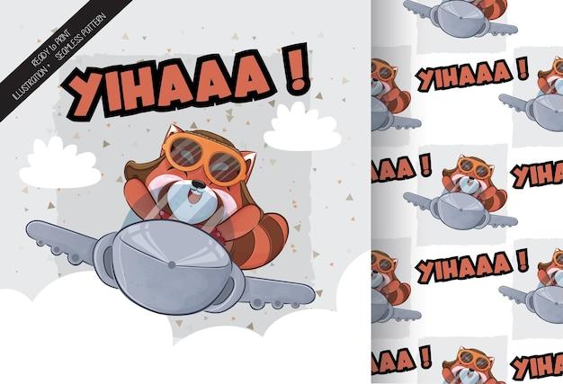 Cute little red panda feliz na ilustração de avião de ar ilustração e conjunto de padrões