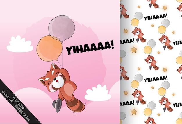 Cute little red panda feliz voando com ilustração de balão conjunto de ilustração e padrão