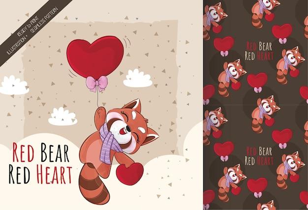 Cute little red panda feliz voando com ilustração de coração vermelho conjunto de ilustração e padrão