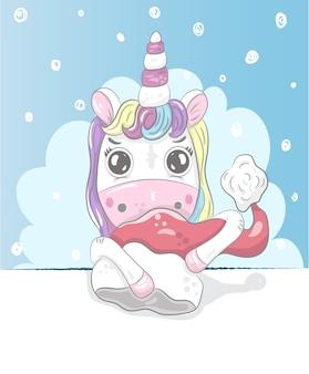 Cute little unicorn cartoon mão desenhada
