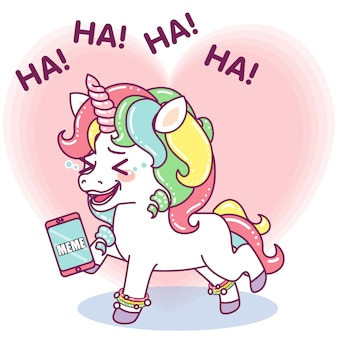Cute little unicorn laughing out loud