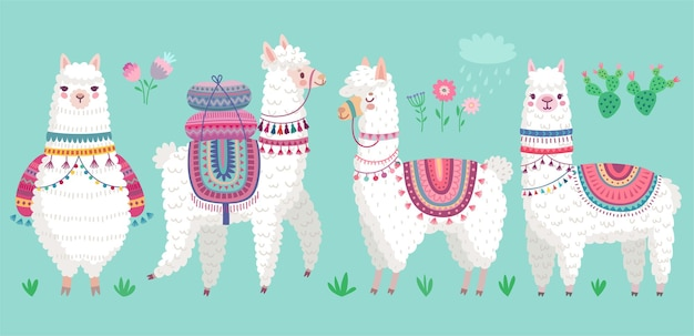Cute llamas engraçado personagens de alpaca desenhados à mão