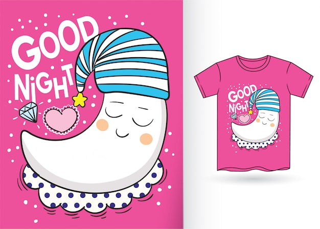 Cute, lua, caricatura, mão, desenhado, para, t, camisa