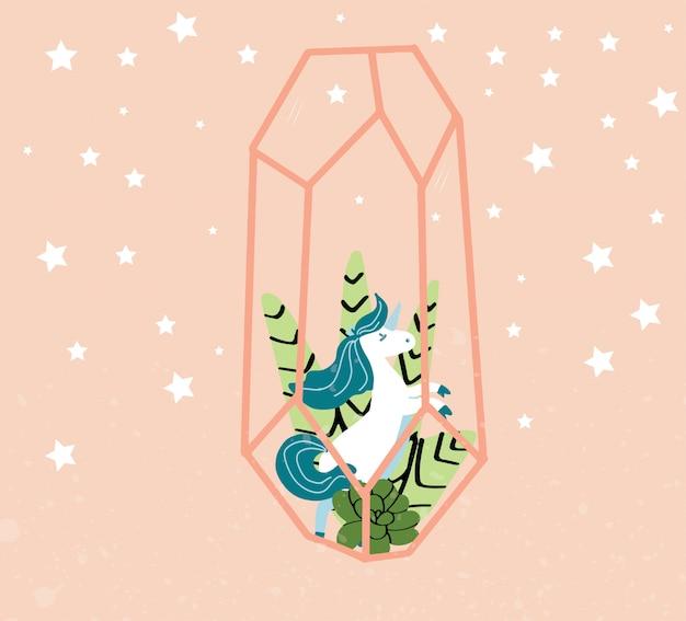 Cute, magia, unicórnio, ilustração