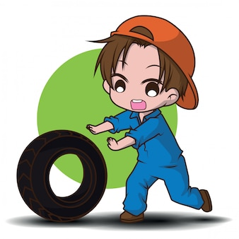 Cute, mecânico, caricatura