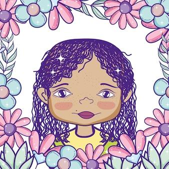 Cute, menina, caricatura, ao redor, flores quadro