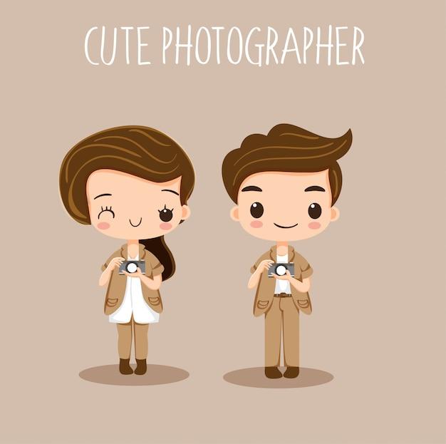 Cute, menina menino, fotógrafo, caricatura