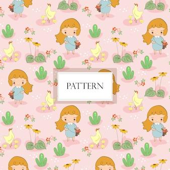 Cute, menina, reunião, flor, com, cute, galinha, família