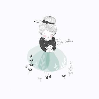 Cute, menininha, com, pássaro