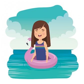 Cute, menininha, senhora, com, flemish, flutuador, mar