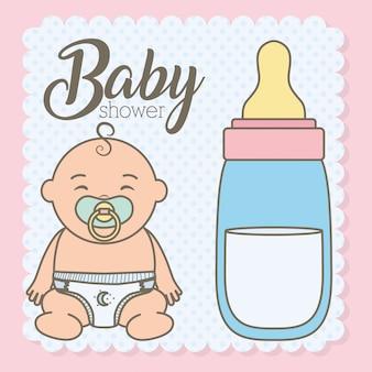 Cute, menino bebê, com, garrafa, leite