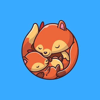 Cute mommy fox com baby fox icon illustration. conceito de ícone de animais.