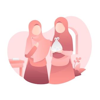 Cute, mulher muçulmana, desgastar, véu, ilustração