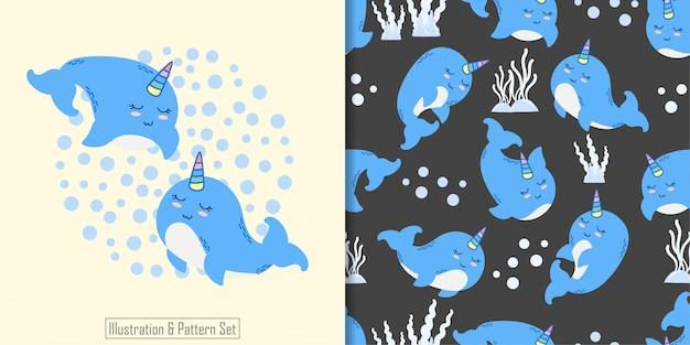 Cute narval animal sem costura padrão com mão desenhada ilustração cartão conjunto