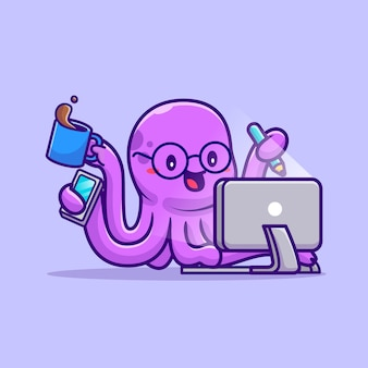 Cute octopus multitarefa