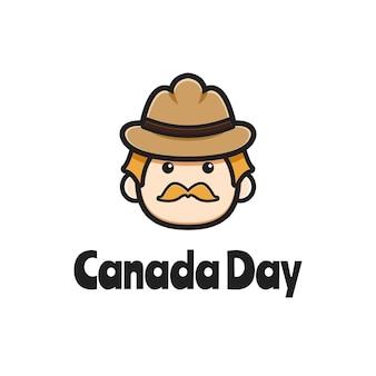 Cute oldman canada day logo cartoon icon ilustração vetorial. design isolado no branco. estilo liso dos desenhos animados.