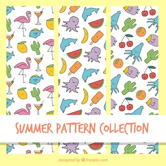 Cute padrões de verão com desenhos agradáveis