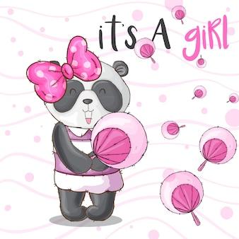 Cute panda animal linda garota-vetor