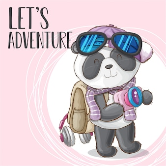 Cute panda animal viajando vector