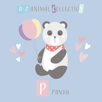 Cute panda cartoon doodle alfabeto animal p