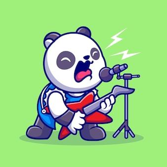 Cute panda rocker canta com ilustração de ícone de vetor de desenho animado de guitarra. conceito de ícone de música animal isolado vetor premium. estilo flat cartoon