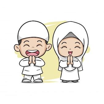 Cute, par, muçulmano, crianças, saudando, salaam