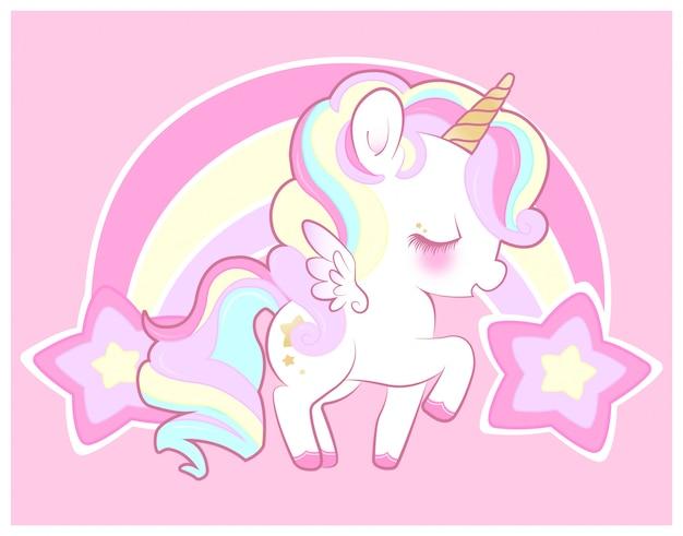Cute pastel rainbow unicorn
