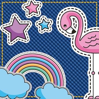 Cute patches flamingo arco-íris nuvens e estrelas em denim