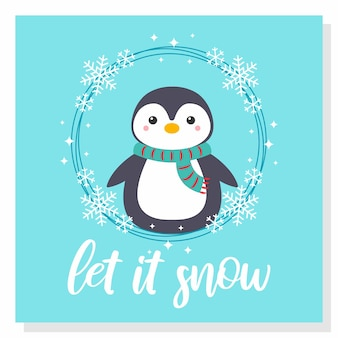 Cute penguin snow