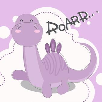 Cute, pequeno, dinossauro, mão, desenhado, animal, ilustração-vector