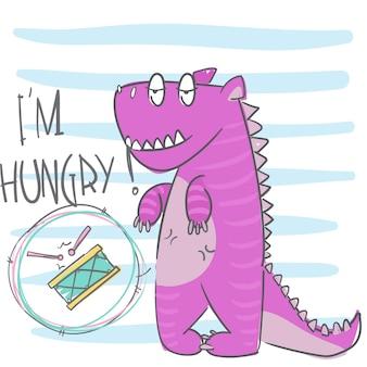 Cute, pequeno, dinossauro, mão, desenhado, animal, ilustração