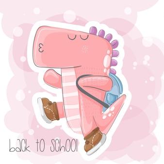 Cute, pequeno, dinossauro, mão, desenhado, ilustração