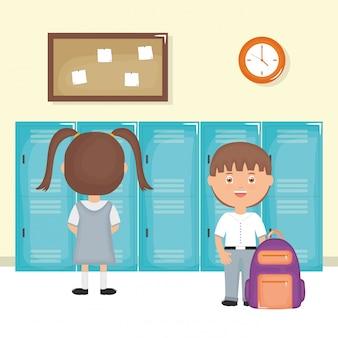 Cute, pequeno, estudantes, par, em, a, escola, cena