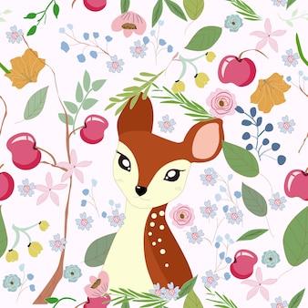Cute, pequeno, veado, em, maçã, ramo, quadro