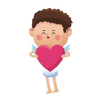 Cute pink cupid valentine heart