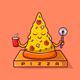Cute pizza yoga meditação cartoon icon ilustração vetorial. conceito de ícone do esporte alimentar isolado vetor premium. estilo flat cartoon
