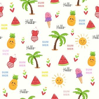 Cute, praia, tema, verão, kawaii, padrão sem emenda