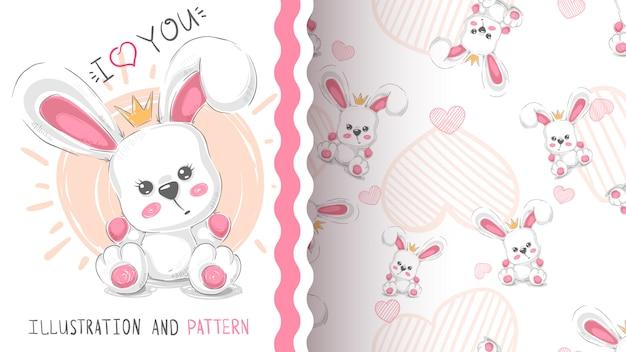 Cute, princesa, coelho, padrão