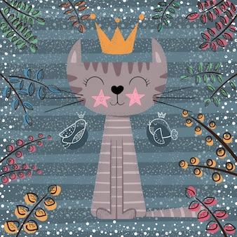 Cute, princesa, gato, caricatura, ilustração