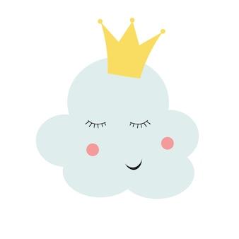 Cute, princesa, nuvem, em, coroa ouro