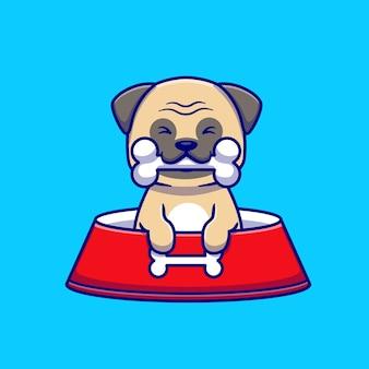 Cute pug eat bone cartoon icon ilustração.