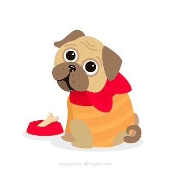 Cute pug puppie com design plano