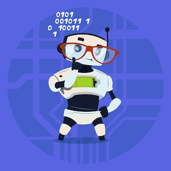 Cute robot wear glasses