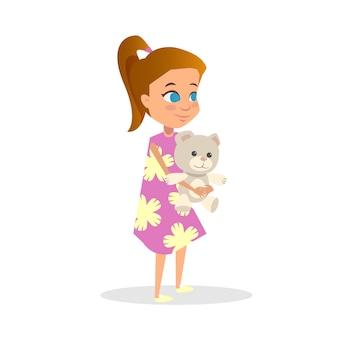 Cute, ruivo, menina, caricatura, vetorial, apartamento, ilustração