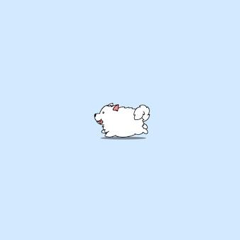 Cute, samoyed, cão, executando, caricatura, ícone