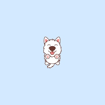 Cute, samoyed, cão, pular, caricatura, ícone