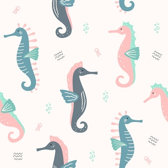 Cute sea horse animal sem costura padrão para papel de parede